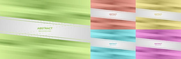 Abstract set geometric gradient color green, red, yellow, blue and purple background style. vector illustration