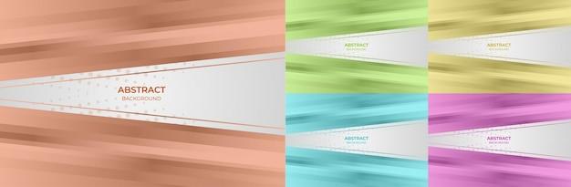 Абстрактный набор геометрического градиента цвета красный, зеленый, желтый, синий и фиолетовый стиль фона. векторная иллюстрация