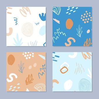 추상 식물 및 기하학적 요소, 텍스처와 최신 유행 스타일로 설정합니다.