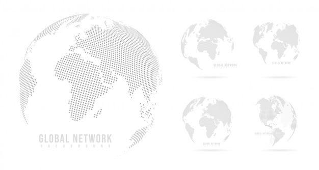 グローバルと白い背景の上の抽象的なセットマッシュラインとポイントスケール。