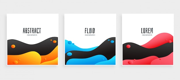 Abstract set of modern fluid background in three colors