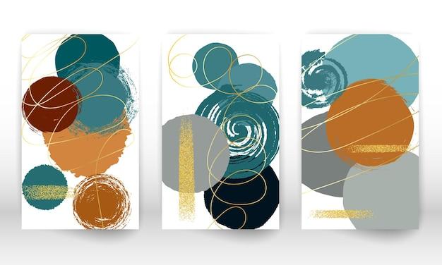 幾何学的な形と線の抽象的なセット。水彩画のテクスチャ。ミニマリストの手描きの形と金の粒子。