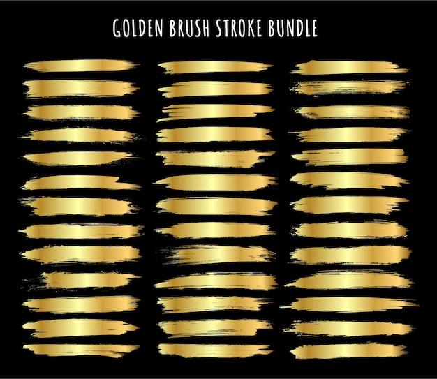 Абстрактный набор золотой текстурированной коллекции мазков
