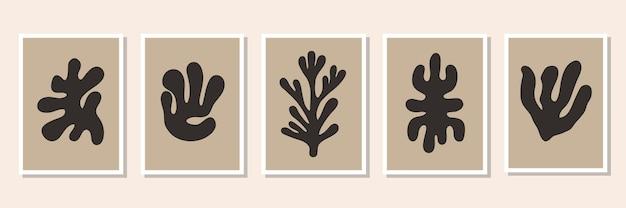 黒の有機的な形の最小限のポスターの抽象的なセット現代的なベクトル図