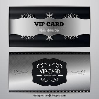銀のvipカードの抽象的なセット