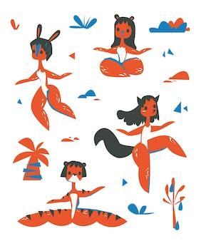 Абстрактный набор женщин животных. векторная иллюстрация. плоский оранжевый иллюстрации. актуальный фасон и цвет. логотип клипарт