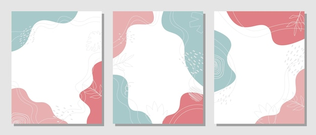 Abstract set organic floral style .vector illustration.