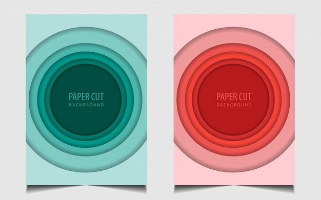 Abstract set paper cut cover background