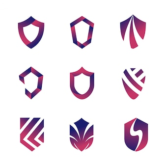 Abstract set of shield logo template