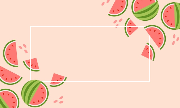 Abstract set with colorful summer sale watermelon banner on pink