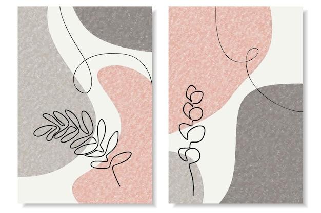 Абстрактный набор с минимальными формами и цветком и листом искусства линии.