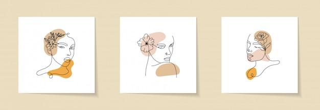 抽象的な女性の顔、シルエット、花の要素を設定