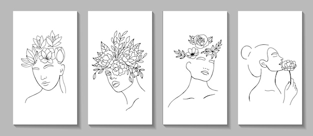 Abstract set with woman face, silhouette, floral elements line art