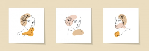 Abstract set with woman face, silhouette and floral elements