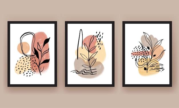 抽象的な形と葉の自由奔放に生きる現代のミニマリストのクリップアート