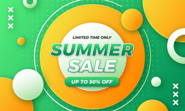 Abstract shape end of summer sale banner design