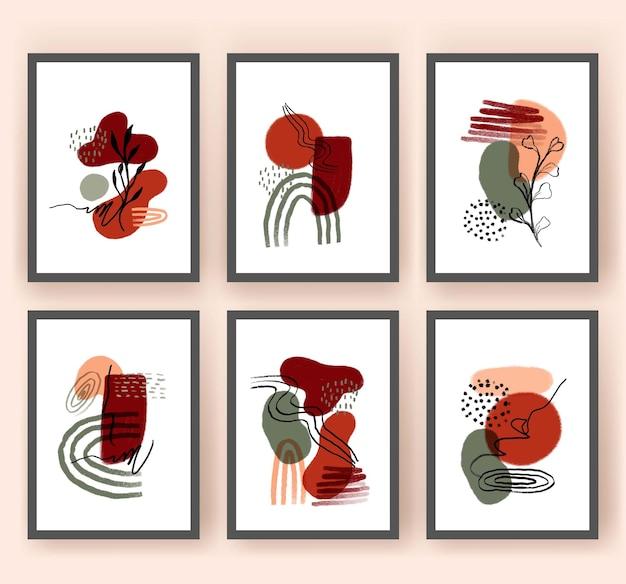 Abstract shape and leaf boho modern minimalist clipart