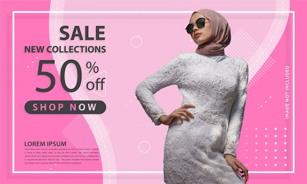 Abstract shape of pink special offer sale web banner template