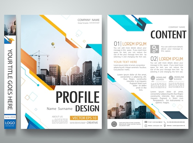Abstract shape poster portfolio layout design.