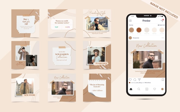 Instagramのファッション販売促進バナーテンプレートのソーシャルメディア投稿セットの抽象的な形のシームレスな背景