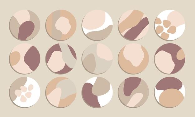 추상적인 모양 빈티지 색상 instagram 하이라이트 표지 벡터 컬렉션
