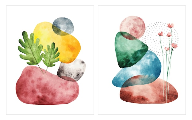 Abstract shape water color illustration