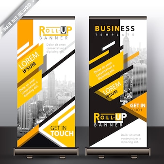 Abstract shape yellow roll up banners