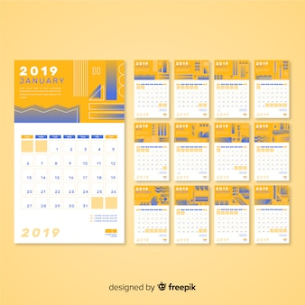Abstract shapes 2019 calendar
