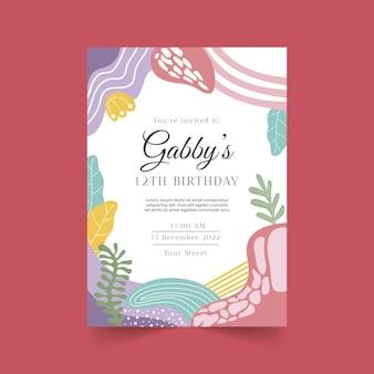 Modello di invito di compleanno di forme astratte