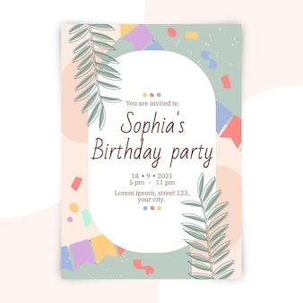 Abstract shapes birthday invitation