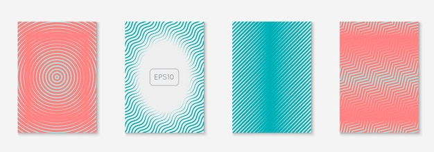 抽象的な形がカバーしています。ミニマルなプレゼンテーション、チラシ、プラカード、特許レイアウト。ピンクとターコイズ。抽象的な形状は、線の幾何学的要素でカバーとテンプレートをカバーします。