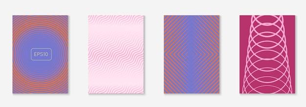 Обложка абстрактных форм. фиолетовый и розовый. винтажная папка, веб-приложение, приглашение, концепция отчета. обложка абстрактных форм и шаблон с линейными геометрическими элементами.