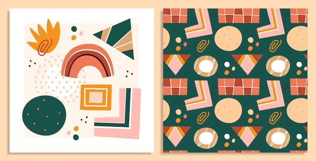 Abstract shapes, figures   illustrations set. circles and rectangles, triangle, stain flat arts, drawings collection. abstraction, hand drawn geometric seamless pattern isolated