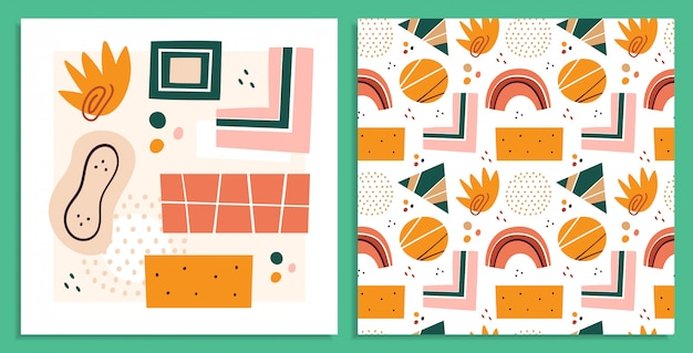 Abstract shapes, figures   illustrations set. postcards. circles and triangles doodle color drawings collection. abstraction, hand drawn geometric shapes pack isolated