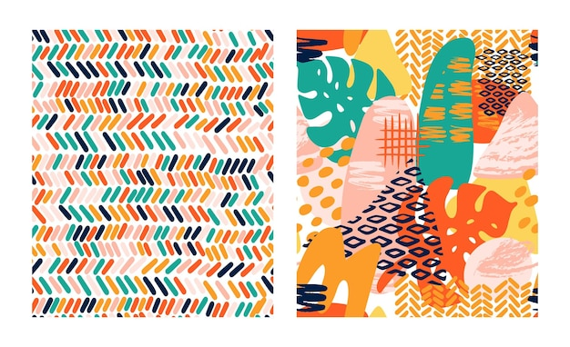 Abstract shapes geometric vector pattern set in bright colors with tropical leaves, brush strokes and animal texture print. modern seamless texture pattern with grunge,stripes, circle in collage style