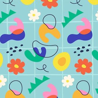 抽象的な形手描きパターン