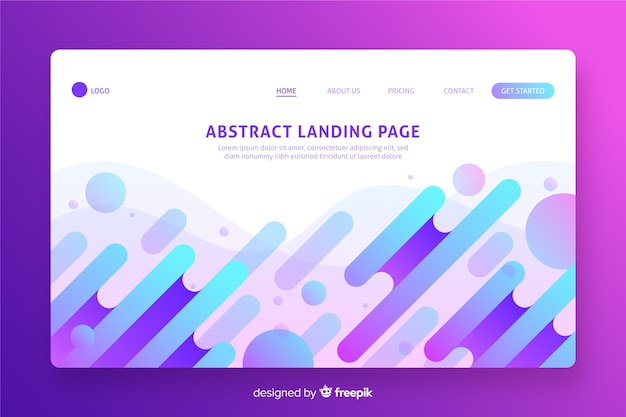 Abstract shapes landing page flat design