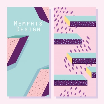 Abstract shapes, memphis geometric style covers or banners