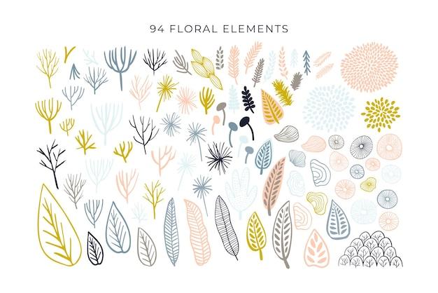 抽象的な形、モダンな花の要素の大きなセット。手描き落書き幾何学とテクスチャコレクション。白い背景で隔離のトレンディなベクトルイラスト。落書き、ドロップ、ライン、葉を抽象化します。