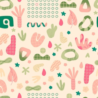 Abstract shapes seamless pattern hand drawn trendy doodles repeating elements for design