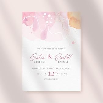 結婚式の招待状に水彩の抽象的な形