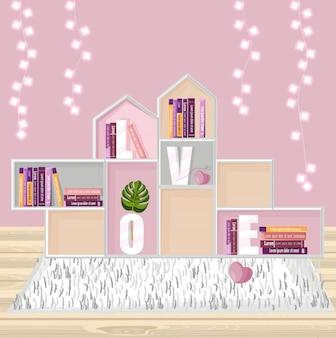 本の装飾のための抽象的な棚