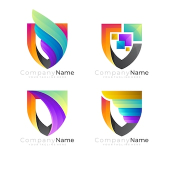 Abstract shield logo and colorful design template, security icons