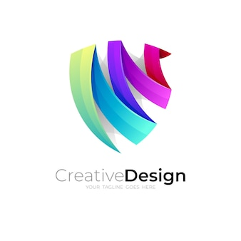 Abstract shield logo and colorful design vector, 3d style