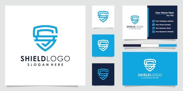 Абстрактный дизайн логотипа щита. щит логотип и дизайн визитной карточки.