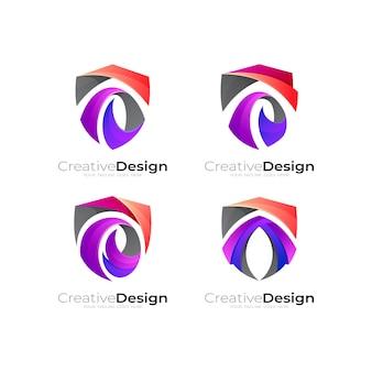 抽象的な盾のロゴイラスト、シンプルなスタイルのカラフルなアイコン