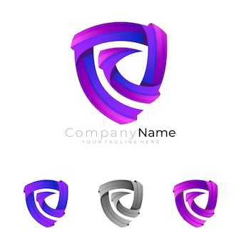 Abstract shield logo with colorful design template