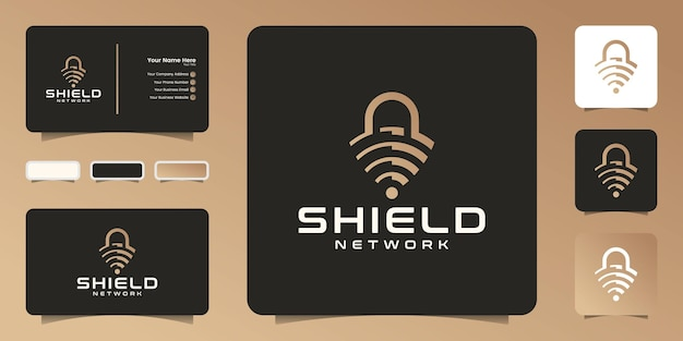 Abstract shield, wifi signal and padlock, logo design icon and business card