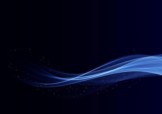 Абстрактный блестящий цвет синий элемент дизайна волны на темном фоне медицина