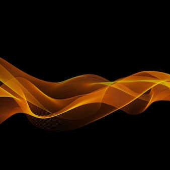 Abstract shiny color gold wave design element on dark background. for science or technology design